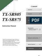 TX-SR805 875 Commandes Groupees Fr B En