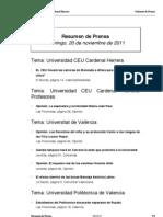 Resumen prensa CEU-UCH 20-11-2011