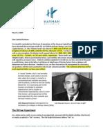 Hayman Letter 2009