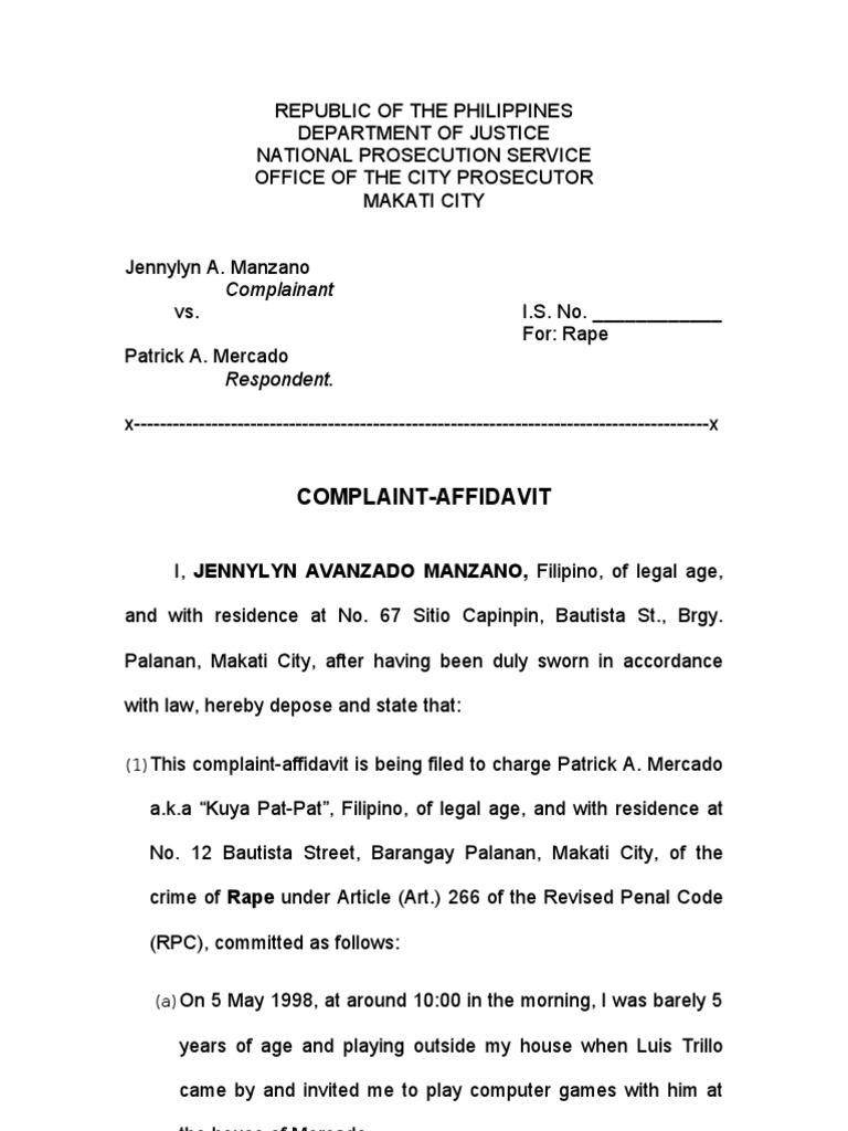Rape Complaint Affidavit Rape Virtue