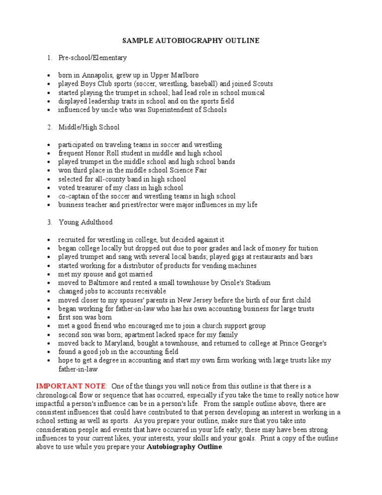 autobiography  sample outline