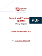 Sagacious Research - Patent & Trademark Updates – 22nd November, 2011