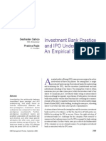 Investment Banks in India & IPO Under Pricing - Case Study