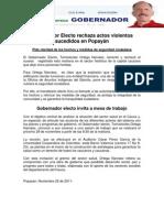 Gobernador Electo rechaza actos violentos sucedidos en Popayán