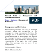 Richard Field on Management and Information Science