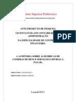 Ante Projecto de Auditoria sobre as rubricas de compras de bens e serviços e dividas a pagr