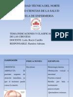 INDICACIONES Y CLASIFICACIÓN DE LAS CIRUGÍAS