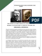 Semejanzas y Diferencias Entre Weber y Durkheim