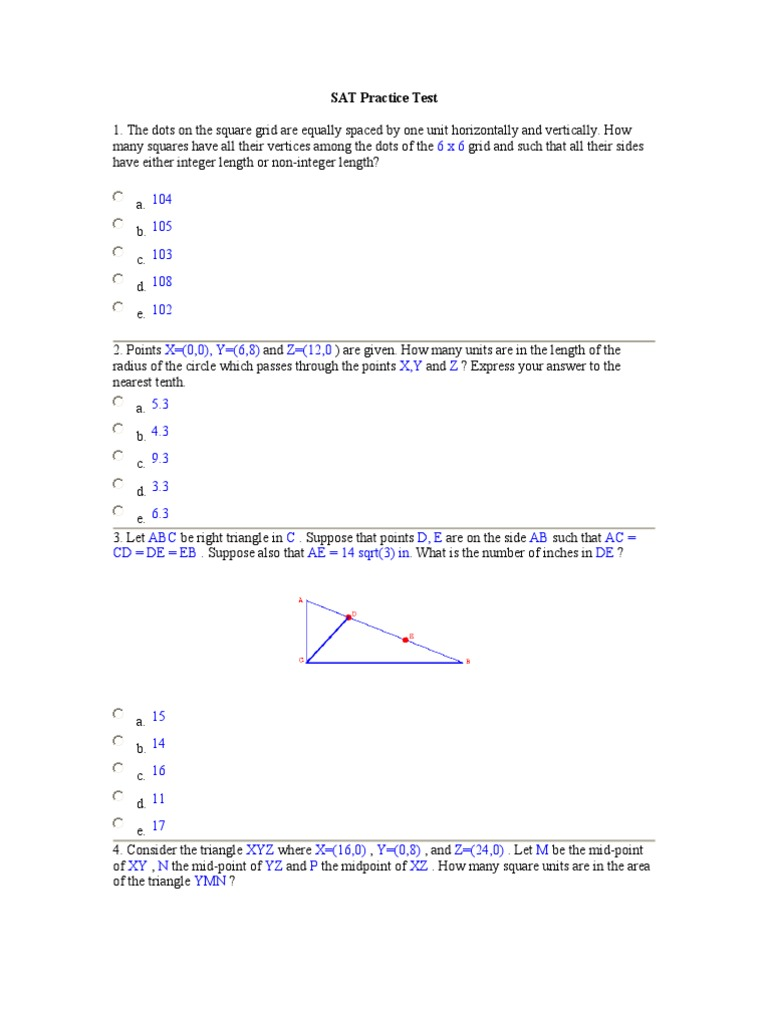 SAT Practice Test | Triangle | Circle