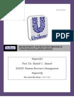 Recruitment & Selection of Unilever