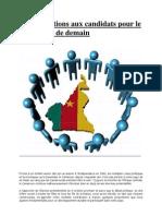 10 Propositions Aux Candidats Pour Le Cameroun de Demain