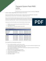Cara Membuka Password System Pada PABX Panasonic TDA Series