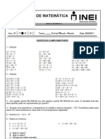 Lista 02 - 7 ano - operações com numeros inteiros extra