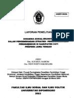 Dinamika Sosial Ekonomi Dalam Pengembangan Strategi Penanggulangan Penganggur Di Kabupaten Pati Propinsi Jawa Tengah