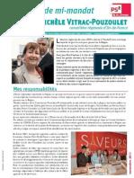Lettre Mi-Mandat Michèle Vitrac-Pouzoulet - Région Ile-de-France