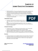 Objective Statements