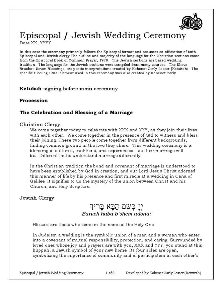 Episcopal jewish wedding ceremony wedding blessing voltagebd Image collections