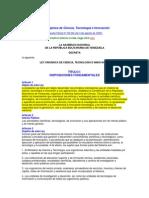 Ley Organica Ciencia Tecnologia e Innovacion