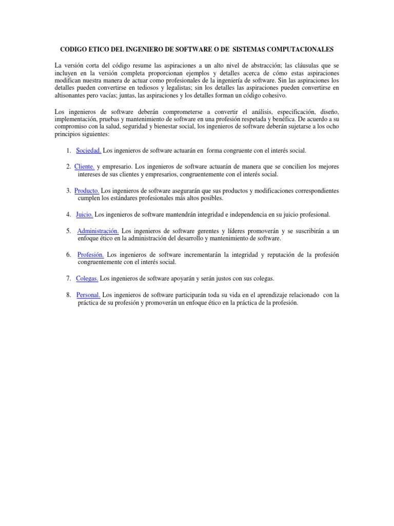 Codigo Etico Del Ingeniero de Software o de Sistemas Computacionales