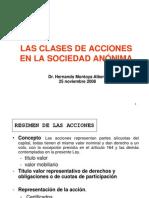 Las Clases de Acciones en La Sociedad Anonima Hernando Montoya Alberti