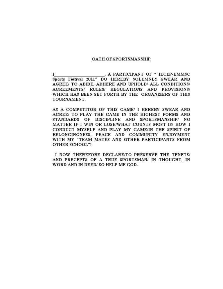 Oath Of Sportsmanship