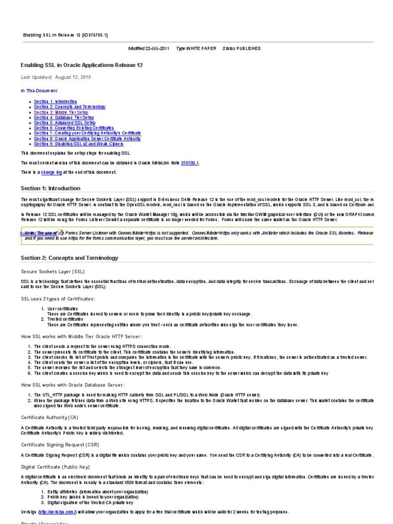 Enabling Ssl In Oracle Applications Release 12 Public Key