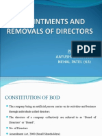 Appointments and Removals of Directors