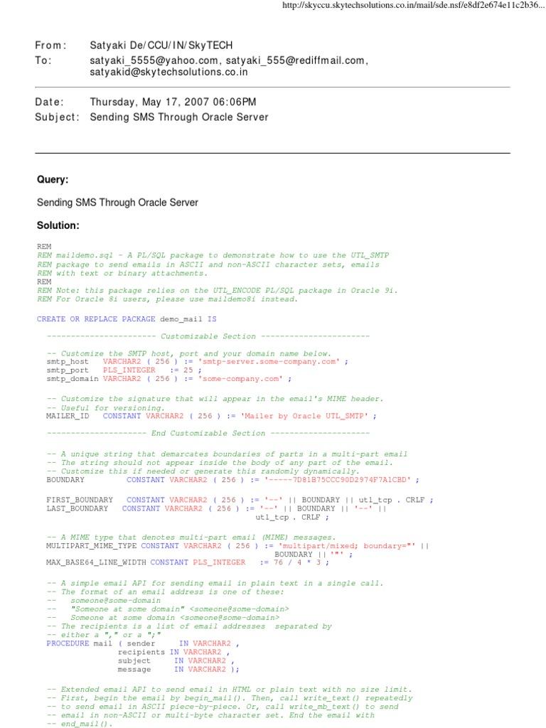 Sending SMS Through Oracle Server | Email | Layanan Jaringan