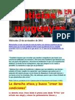 Noticias uruguayas Miércoles 23 de noviembre de 2011