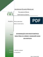 DETERMINAÇÃO ESPECTROFOTOMÉTRICA SIMULTÂNEA DE CRÓMIO E MANGANÊS NUMA LIGA METÁLICA - CONDOEIRA