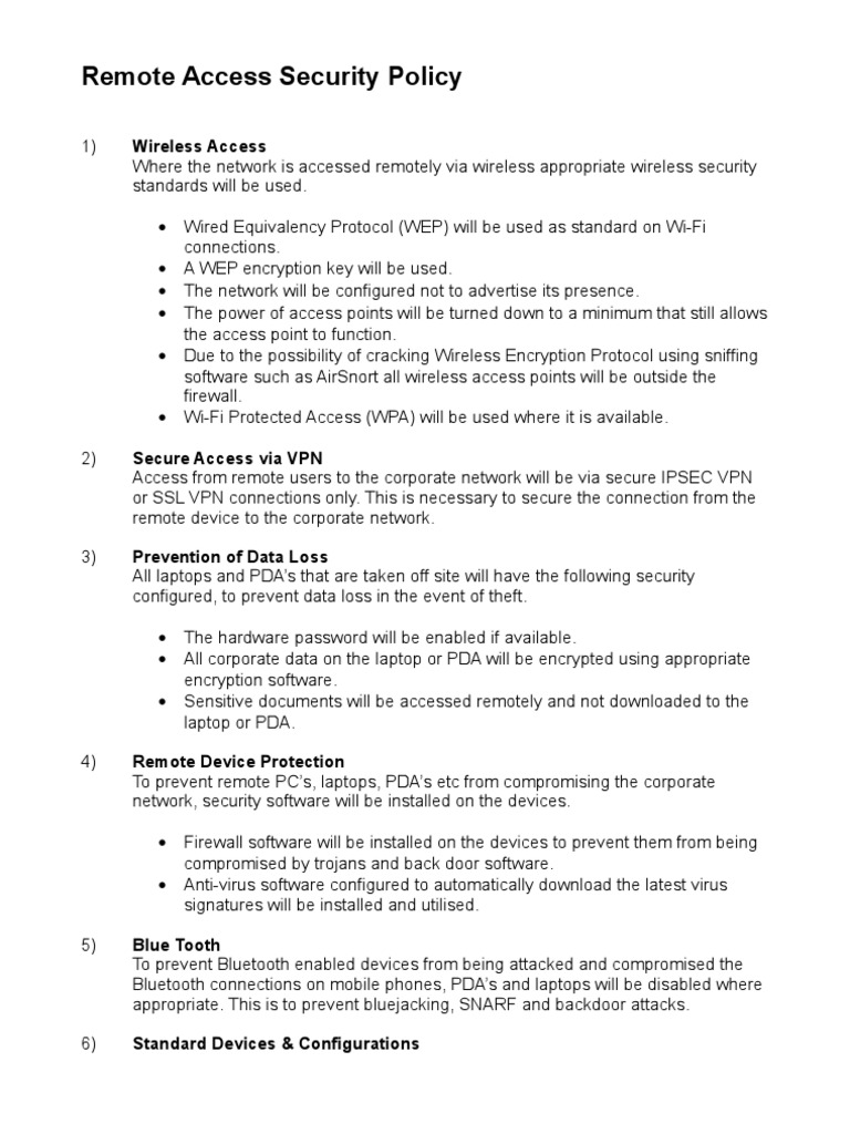 Laptop security policy template byod policy template lovely top remote access policy word template computer security online maxwellsz