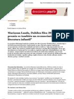 """Mariasun Landa, Dabilen Elea 2011_ """"Este premio es también un reconocimiento a la literatura infantil"""" — Euskal Kultura_20111123"""
