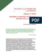 Fichte Johann - Introduccion a La Teoria de La Ciencia