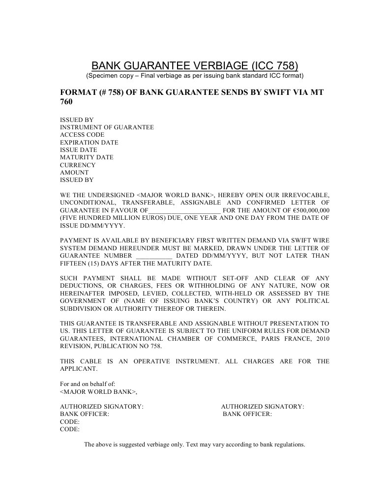 Bank Guarantee Verbiage Icc 758