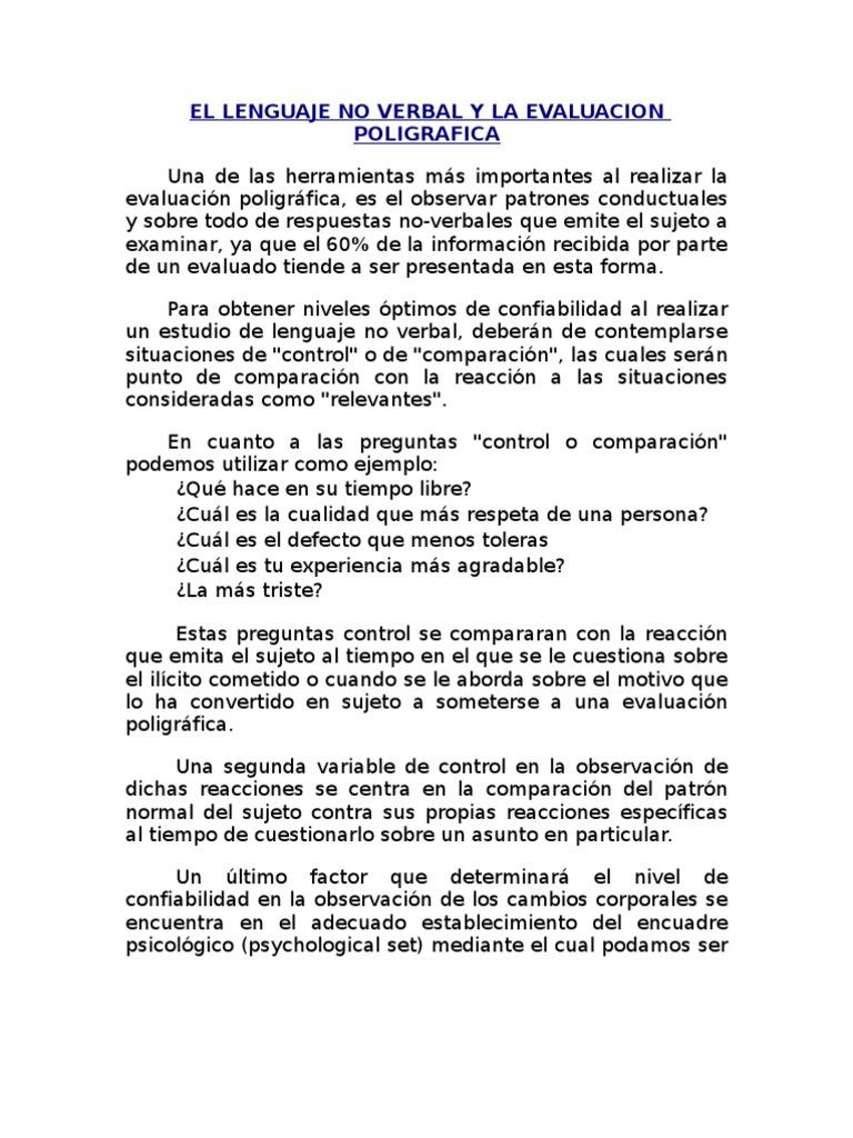 8296765 El Lenguaje No Verbal y La Evaluacion Poligrafica