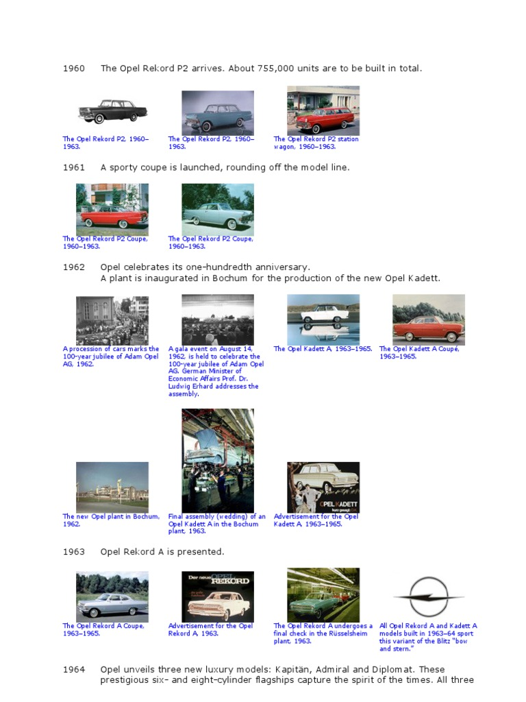 Opel Historie 1960 1969 Opel Car Body Styles