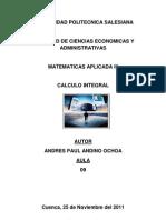 Trabajo de Matematicas III - Calculo Integral -Andres Andino