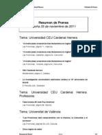 Resumen Prensa CEU-UCH 25-11-2011
