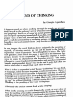 Agamben (1986) the End of Thinking