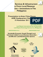Financing Services & Infrastructure in Cities From Local Revenue Generation – Innovations in The Philippines