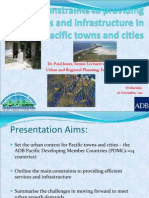 Constraints to providing services and infrastructures in Pacific towns and cities