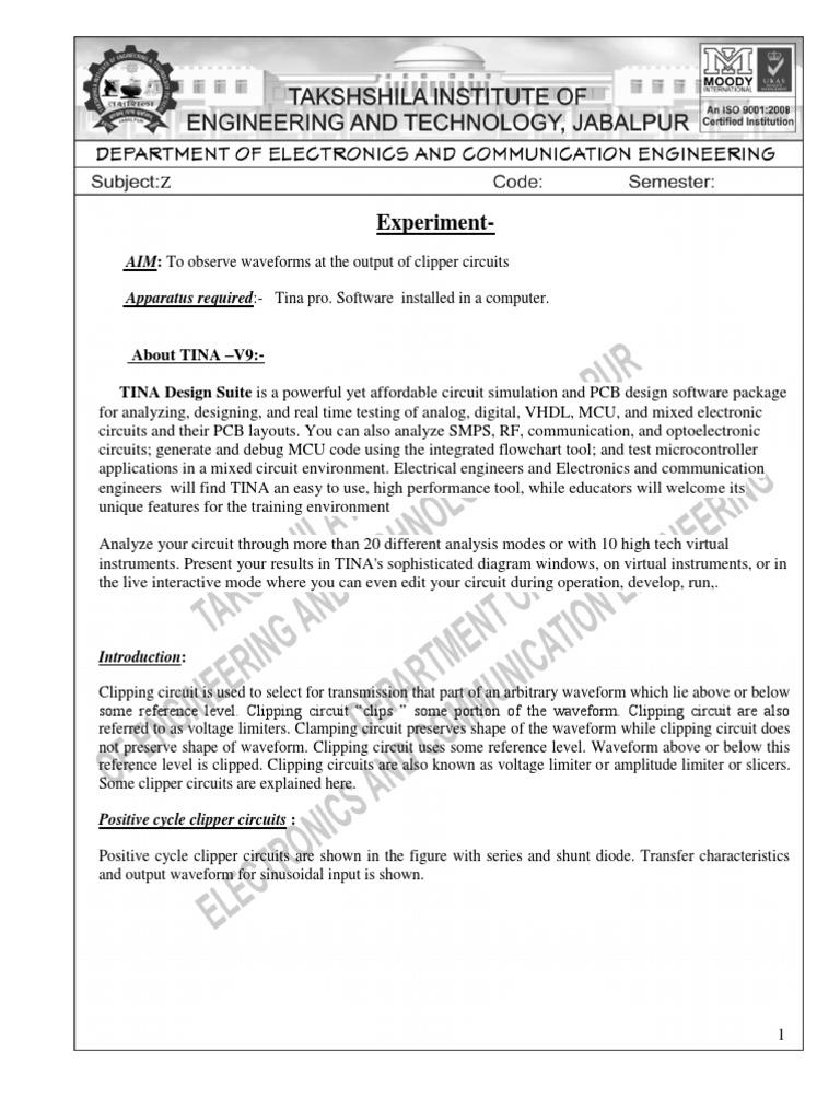 Edc Manual Rectifier Bipolar Junction Transistor Tina Electronic Circuit Design Software