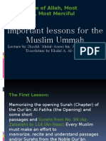 Important Lessons for Muslim Ummah