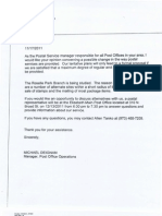 USPS Discontinuance Study Notice (November 17, 2011)
