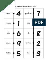 Dominó de números de 1 al 9 lletra número