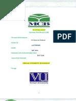 internship report MCB Marketing Virtual university VU