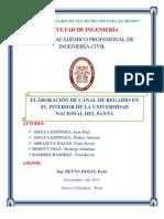 ELABORACIÓN DE CANAL DE REGADÍO EN EL INTERIOR DE LA UNIVERSIDAD NACIONAL DEL SANTA