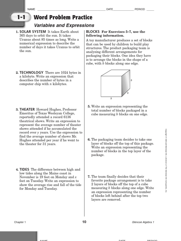 Worksheets Glencoe/mcgraw-hill Word Problem Practice Answers algebra word problems maple syrup hybrid vehicle
