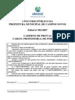 0.382023001196709739 Caderno de Prova. Cargo Prof de Portuguus