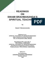READINGS  ON  SWAMI BRAHMANANDA'S  SPIRITUAL TEACHINGS